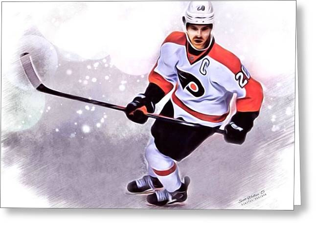 Professional Ice Hockey Greeting Cards - CLAUDE GIROUX Philadelphia Flyers Greeting Card by Scott Wallace