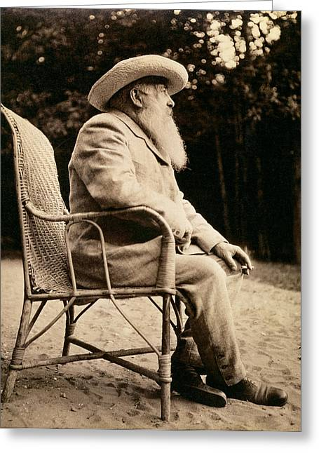 Smoking Cigarette Greeting Cards - Claude Monet 1840-1926 Bw Photo Greeting Card by French Photographer