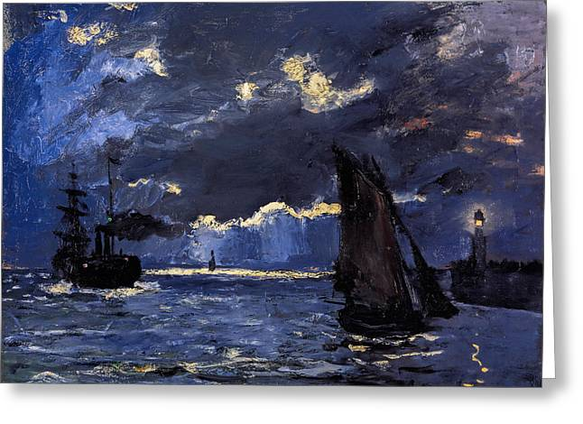 Buy Art Online Greeting Cards - Claude Monet - A Seascape Shipping by Moonlight Greeting Card by Claude Monet