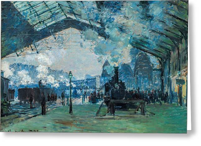 France Greeting Cards - Claude Monet - Arrival of the Normandy Train Greeting Card by Claude Monet