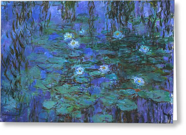 Impressionist Greeting Cards - Claude Monet - Blue Water Lilies Greeting Card by Claude Monet