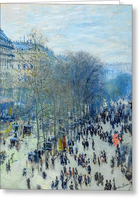 Big Greeting Cards - Claude Monet - Boulevard des Capucines Greeting Card by Claude Monet