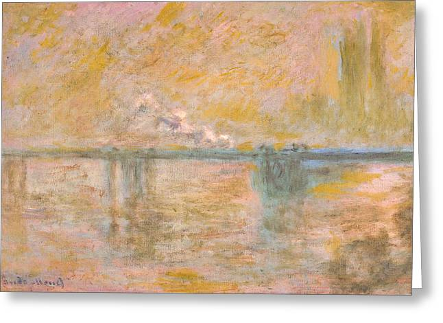 Impressionist Greeting Cards - Claude Monet - Charing Cross Bridge in London Greeting Card by Claude Monet