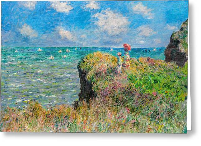 Cool Greeting Cards - Claude Monet - Cliff Walk at Pourville Greeting Card by Claude Monet