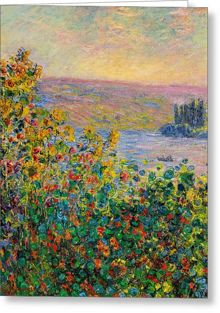 Giclee Greeting Cards - Claude Monet - Flower Beds at Vetheuil Greeting Card by Claude Monet