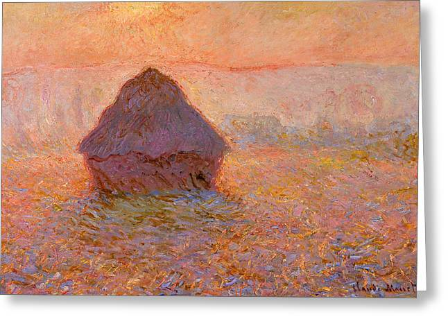 Awesome Greeting Cards - Claude Monet - Grainstack Sun in the Mist Greeting Card by Claude Monet