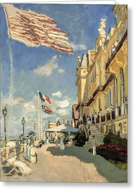 Monet Greeting Cards - Claude Monet - Hotel des Roches Noires Trouville Greeting Card by Claude Monet