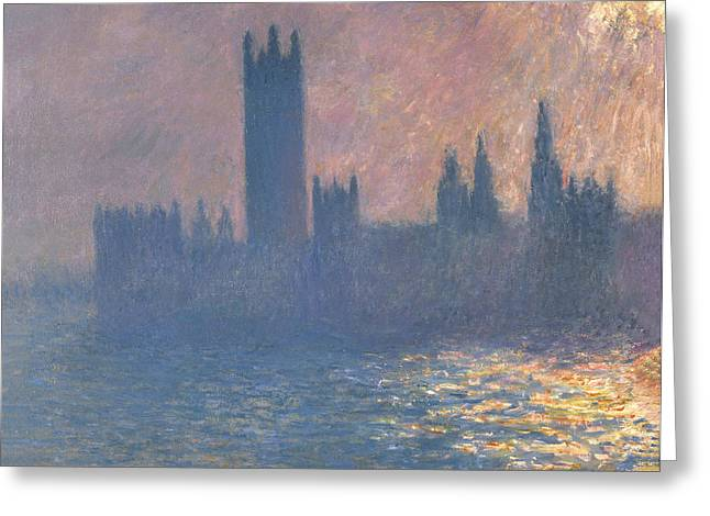Buy Art Online Greeting Cards - Claude Monet - Houses of Parliament Sunlight Effect Greeting Card by Claude Monet