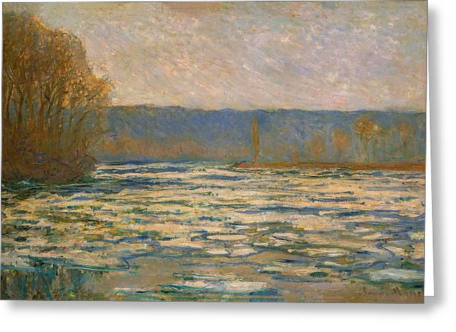 Monet Greeting Cards - Claude Monet - Ice Breaking Up on the Seine near Bennecourt Greeting Card by Claude Monet