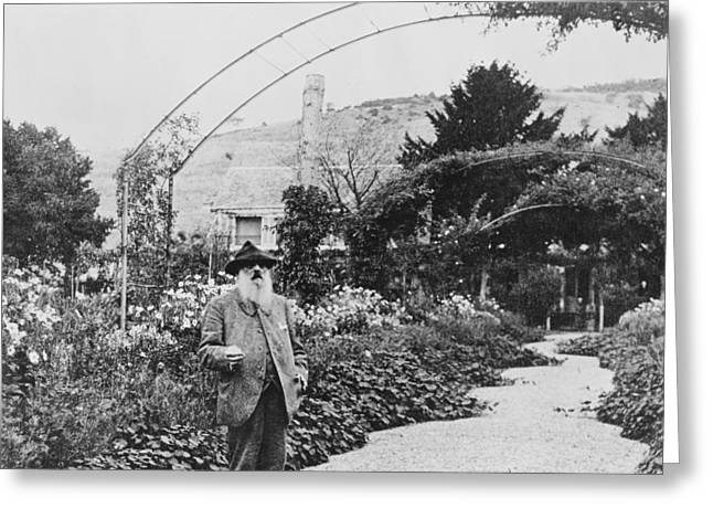 Trellis Greeting Cards - Claude Monet in his garden at Giverny Greeting Card by French School