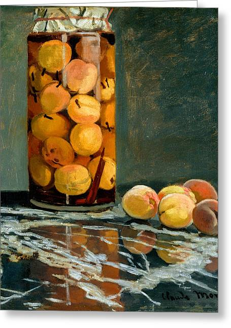 Awesome Greeting Cards - Claude Monet - Jar of Peaches Greeting Card by Claude Monet