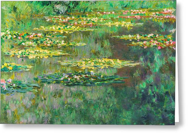 Water Lilies Greeting Cards - Claude Monet - Le Bassin des Nympheas Greeting Card by Claude Monet