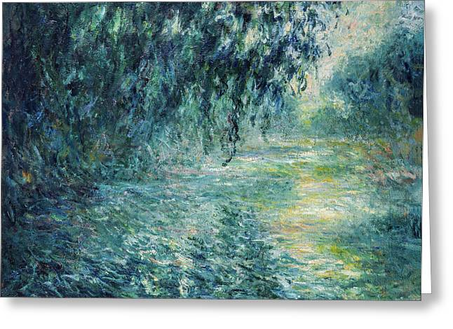 Water Greeting Cards - Claude Monet - Morning on the Seine Greeting Card by Claude Monet
