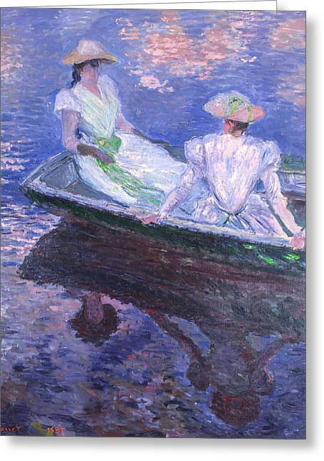 France Greeting Cards - Claude Monet - On the Boat Greeting Card by Claude Monet