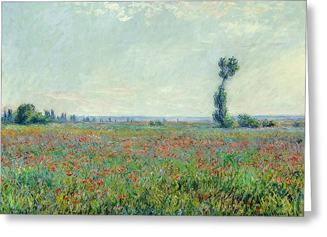 Monet Greeting Cards - Claude Monet - Poppy Field Greeting Card by Claude Monet