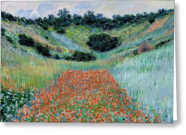 Awesome Greeting Cards - Claude Monet - Poppy Field in a Hollow near Giverny Greeting Card by Claude Monet