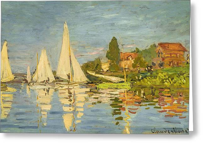 Monet Greeting Cards - Claude Monet - Regattas at Argenteuil Greeting Card by Claude Monet