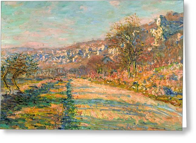 Big Greeting Cards - Claude Monet - Road of La Roche Guyon Greeting Card by Claude Monet