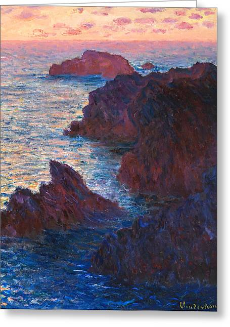 Monet Greeting Cards - Claude Monet - Rocks at Belle Ile Port Domois Greeting Card by Claude Monet