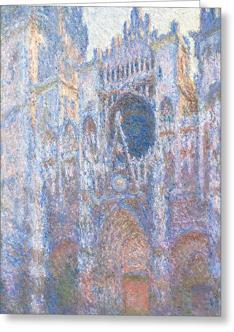 Buy Art Online Greeting Cards - Claude Monet - Rouen Cathedral West Facade Greeting Card by Claude Monet