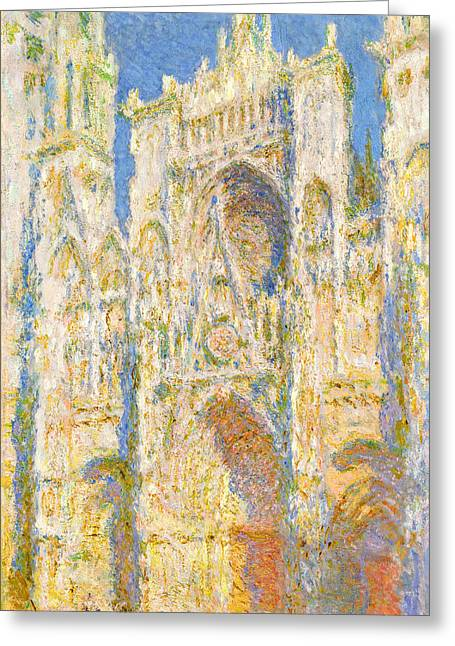 Buy Art Online Greeting Cards - Claude Monet - Rouen Cathedral West Facade Sunlight Greeting Card by Claude Monet