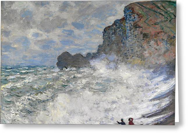 Wall Greeting Cards - Claude Monet - Rough Weather at Etretat Greeting Card by Claude Monet