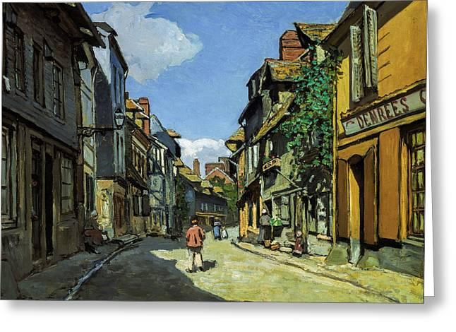 Large Greeting Cards - Claude Monet - Rue de la Bavole Honfleur Greeting Card by Claude Monet