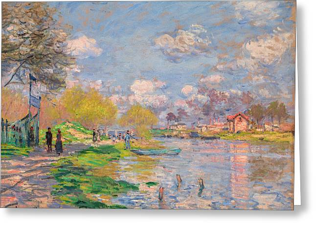 Vintage Greeting Cards - Claude Monet - Spring by the Seine Greeting Card by Claude Monet