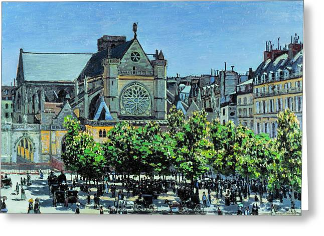 Big Greeting Cards - Claude Monet - St Germain lAuxerrois a Paris Greeting Card by Claude Monet