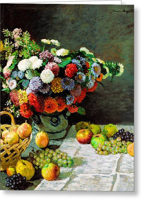 Impressionism Greeting Cards - Claude Monet - Still Life with Flowers and Fruit Greeting Card by Claude Monet