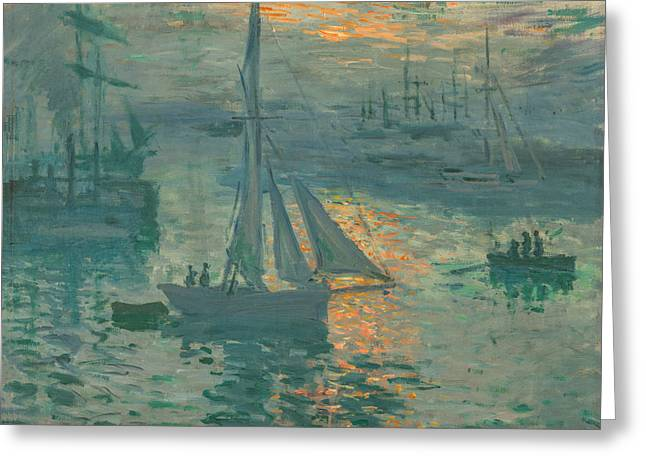 Sailboats Greeting Cards - Claude Monet - Sunrise Marine Greeting Card by Claude Monet