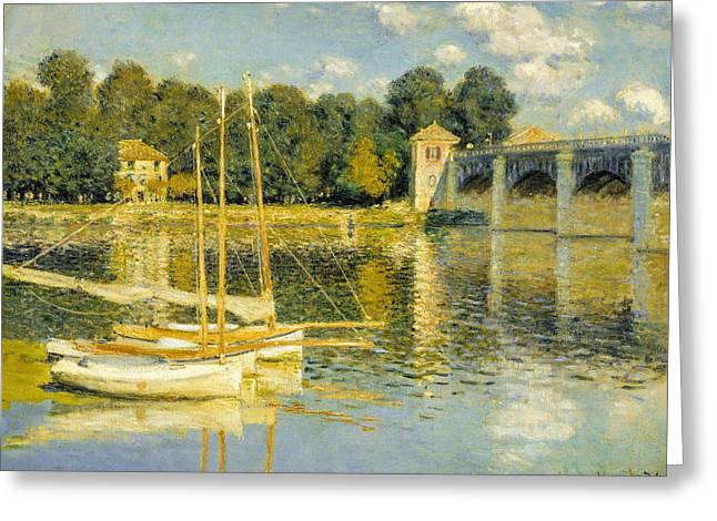 Impressionism Greeting Cards - Claude Monet - The Argenteuil Bridge Greeting Card by Claude Monet