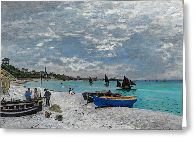 Sail Boats Greeting Cards - Claude Monet - The Beach at Sainte Adresse Greeting Card by Claude Monet