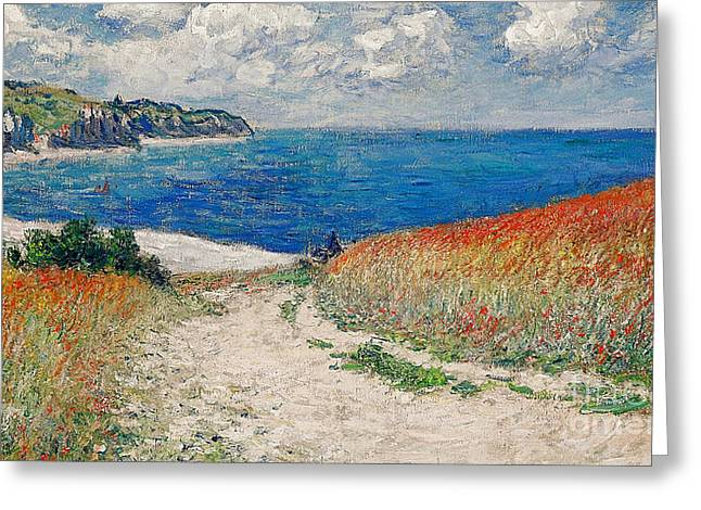 Pourville Greeting Cards - Claude Monets Path in the Wheat Fields at Pourville-1882 Greeting Card by Claude Monet