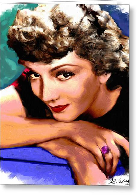 Claudette Greeting Cards - Claudette Colbert Greeting Card by Allen Glass