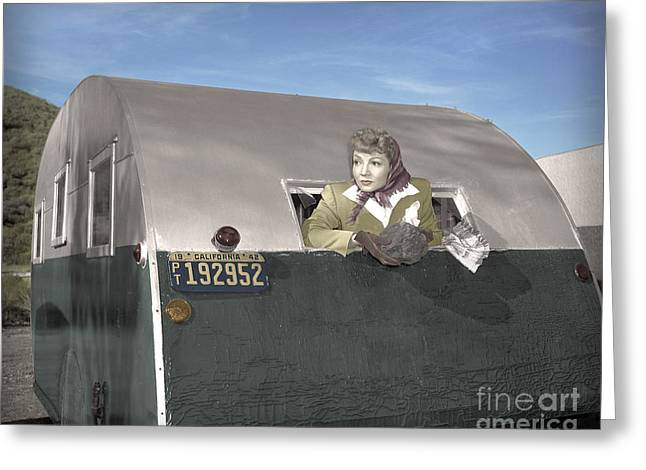 Claudette Greeting Cards - Claudettes Trailer 1943 Greeting Card by Martin Konopacki
