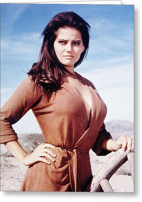 Volta Greeting Cards - Claudia Cardinale in Cera una volta il West  Greeting Card by Silver Screen