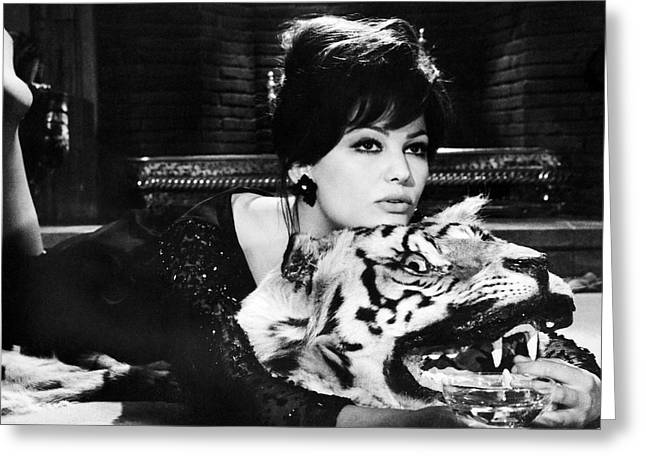 Claudia Cardinale In The Pink Panther  Greeting Card by Silver Screen