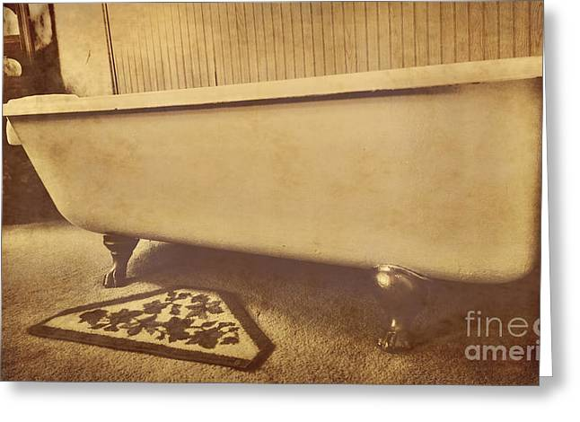 Bath House Greeting Cards - Claw Foot Tub 2 Greeting Card by Cheryl Young