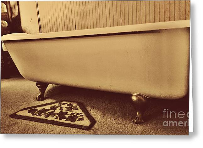 Bath House Greeting Cards - Claw Foot Tub Greeting Card by Cheryl Young