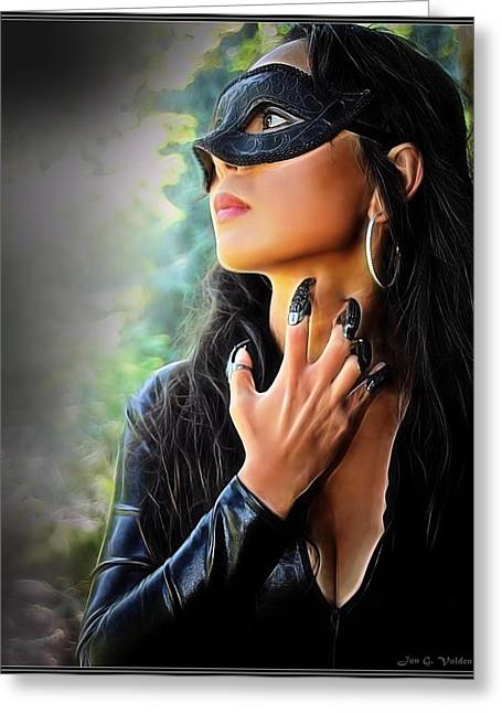 Dungeons Paintings Greeting Cards - Claws Of The Cat Woman Greeting Card by Jon Volden