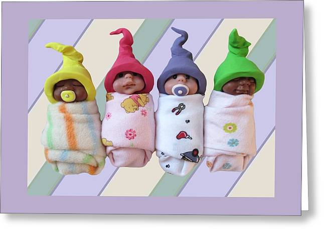 Joyce Geleynse Greeting Cards - Clay Babies with Elfin Hats Greeting Card by Joyce Geleynse