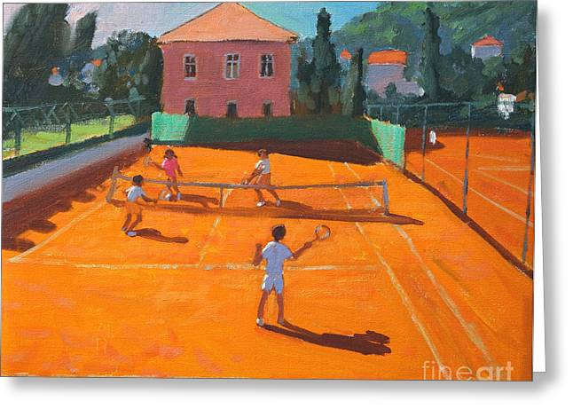 Volley Greeting Cards - Clay Court Tennis Greeting Card by Andrew Macara