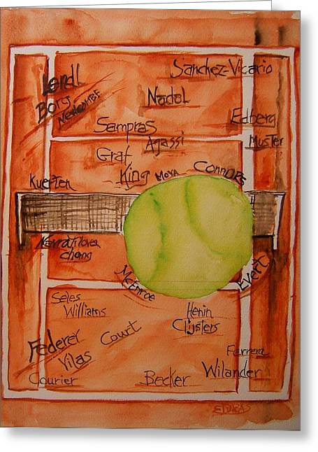 Racquet Paintings Greeting Cards - Clay Courters Greeting Card by Elaine Duras