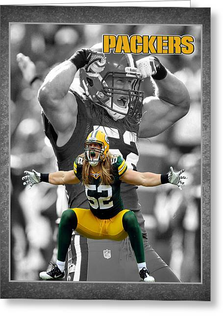 Shoes Greeting Cards - Clay Matthews Packers Greeting Card by Joe Hamilton