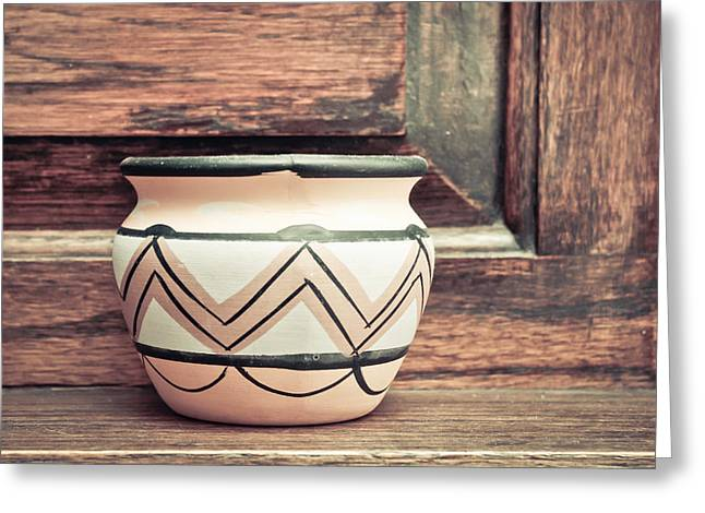 White Clay Greeting Cards - Clay pot Greeting Card by Tom Gowanlock