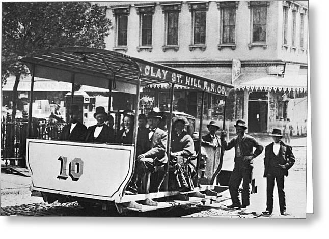 Clay Street Cable Car Greeting Card by Underwood Archives