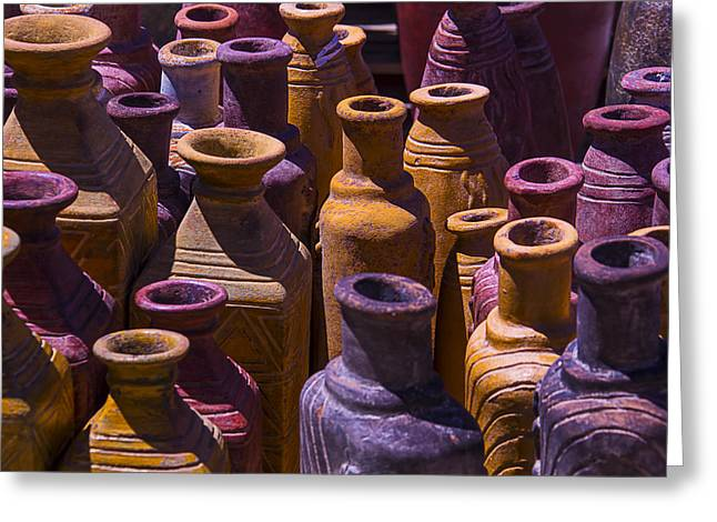 Warm Tones Photographs Greeting Cards - Clay Vases Greeting Card by Garry Gay
