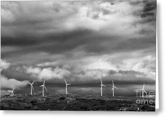 Rotation Greeting Cards - Clean Energy - Wind Turbines Greeting Card by Jose Elias - Sofia Pereira