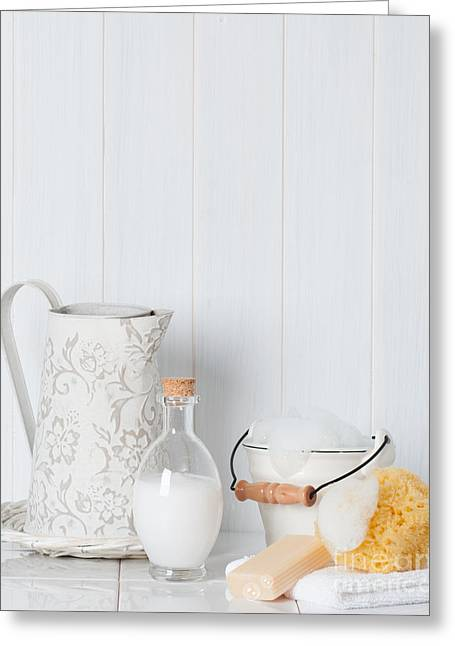 Water Jug Greeting Cards - Clean Fresh Bathroom Items Greeting Card by Amanda And Christopher Elwell